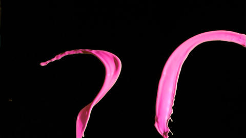 Pink paint lines in super slow motion mixing Stock Video Footage