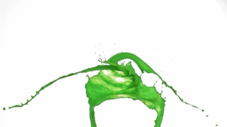 Green splashes of paint in super slow motion falli Stock Video Footage