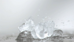 Ice cubes smashing in super slow motion Footage