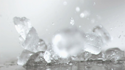 Ice cubes smashing in super slow motion Stock Video Footage