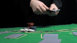 Man dealing the cards in slow motion Stock Video Footage
