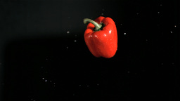 Red bell pepper rotating in super slow motion Footage