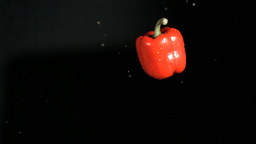Red bell pepper rotating in super slow motion Stock Video Footage