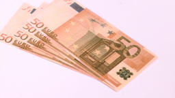 Fifty euros banknotes falling in super slow motion Footage