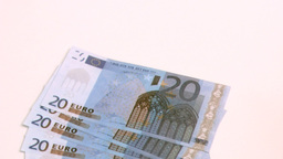 Twenty euro banknotes spread in super slow motion Footage