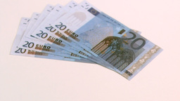 Twenty euro banknotes falling in super slow motion Footage