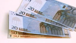 European banknotes being blown in super slow motio Stock Video Footage