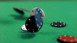 Poker chips falling in super slow motion Stock Video Footage