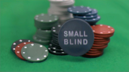 Small blind chip thrown in super slow motion Stock Video Footage