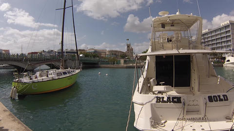 boats in marina downtown barbados Footage