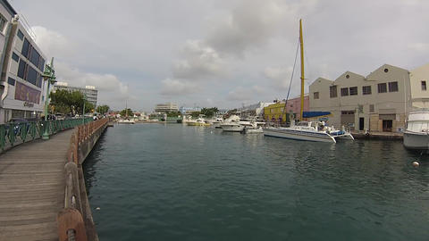 seawalk downtown barbados paning left to right Stock Video Footage