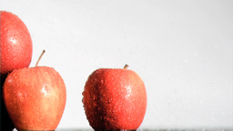 Gala apples watered in super slow motion Stock Video Footage