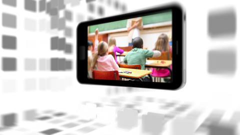 Videos of a primary classroom on a smartphone screen Stock Video Footage
