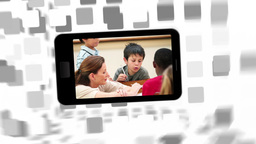 Videos of a primary classroom on a smartphone scre Animation