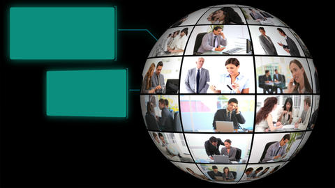 Globe of corporate businesss videos Stock Video Footage