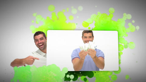 Montage of a man holding money and a for sale sign Animation