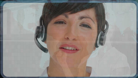 Woman choosing call center agents Animation