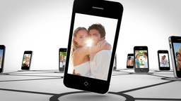 Couple romance on smartphone screen Animation