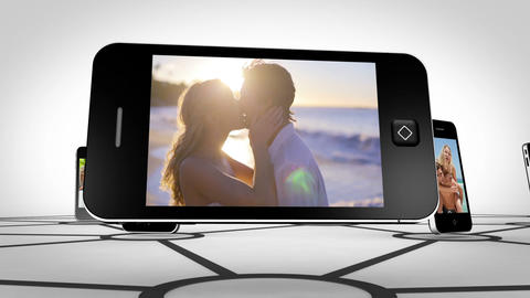 Couple romance on smartphone screen Stock Video Footage