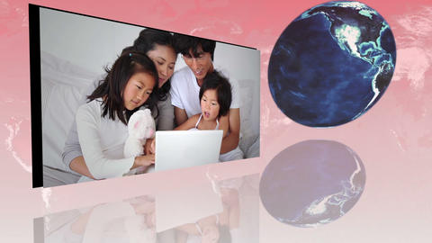 Families around the world using internet with an E Animation