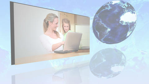 International families using internet with an Eart Stock Video Footage