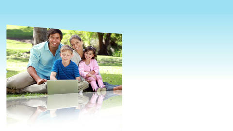 Families using laptops in a park Animation