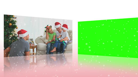 Merry Christmas videos next to croma key screen Animation