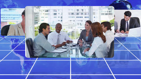 Business people working with an Earth image courte Animation