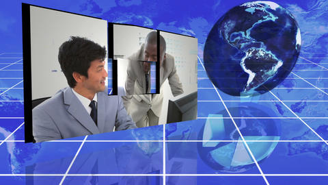 Business colleagues working together with an Earth Stock Video Footage