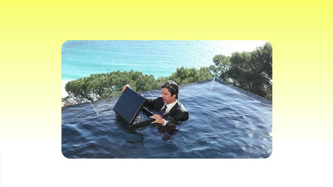 Fun videos of a man in suit at beach Stock Video Footage