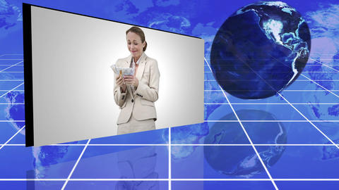 People in suit holding money with an Earth image c Animation