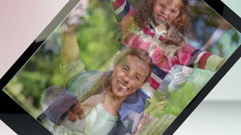 Video of a family in a park on tablet computer Animation