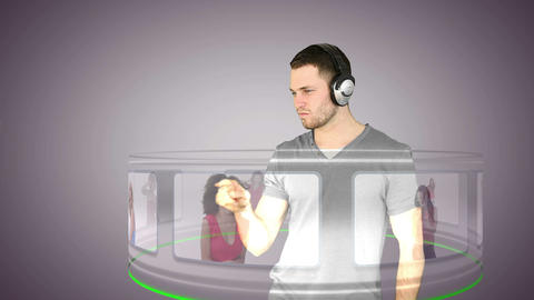 Futuristic video of a man choosing music Animation