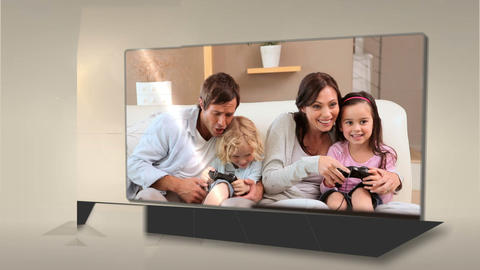 Parents and children having fun in the living room Stock Video Footage