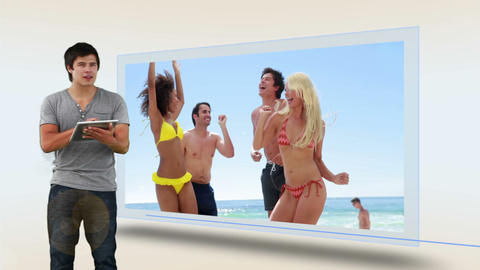 Man watching his vacation at beach on tablet computer Animation