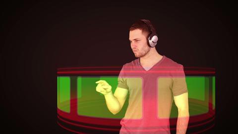 Futuristic video of a man choosing music on chroma key screen Animation