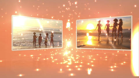 Young people dancing on the beach at sunset Stock Video Footage