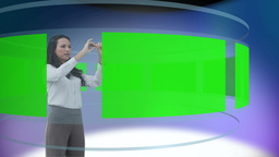 Welldressed woman looking at different screens in chroma key Animation