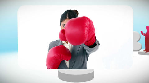Videos of business people boxing Animation
