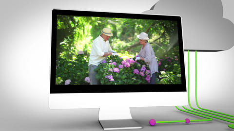 Retired couple gardening Animation
