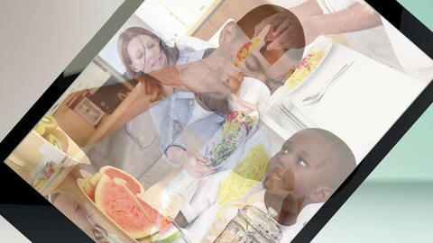 Multiethnic families cooking Animation