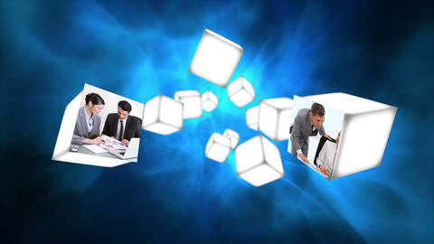 Cubes rolling in the air with business videos Stock Video Footage