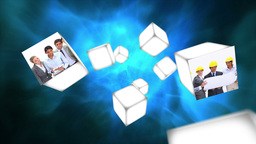 Cubes rolling in the air with business videos Animation