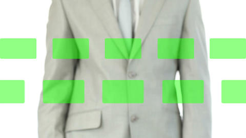 Man selecting videos in chroma key Stock Video Footage