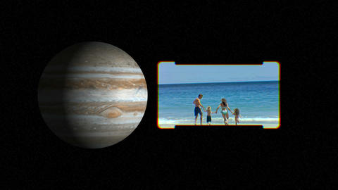 People on the beach with images of planets courtes Stock Video Footage