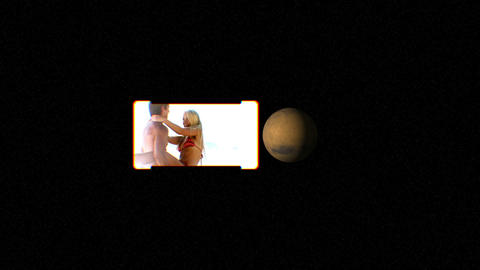 People on the beach with images of planets courtes Animation