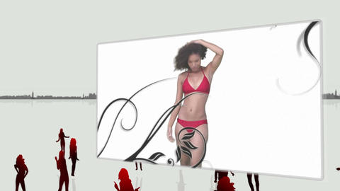 Elegant women dancing in bikini Animation