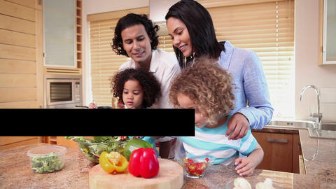 Families cooking together Stock Video Footage