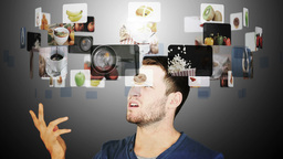 Brunette man hesitating between slow motion videos of food Animation