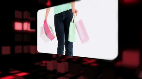 Happy women holding their shopping bags Animation